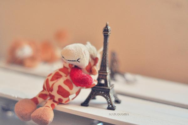 Até a girafinha declarou amores para a Torre Eiffel!